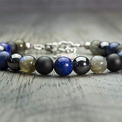 Bracelet homme perles Ø 8mm pierre gemme Agate Noir Hématite Fait main Made in France