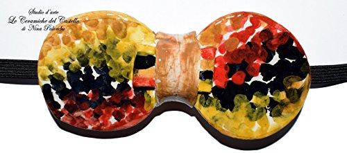Fliege Keramik Action Painting Linie Piece Unique Hergestellt und von Hand bemalt Le Ceramiche del Castello Made in Italy Maße: 10 x 5 (Kostüme Fliegenklatsche)
