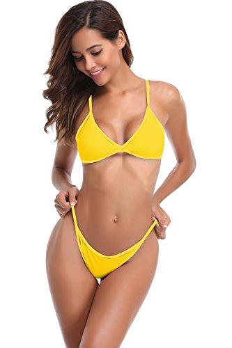 SHEKINI Damen String Tanga Triangel Bikini Set Gepolstert Bandeau Brasil Zweiteiler Bademode Tankini T-String Bikinislip Gelb