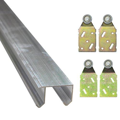 Doppel Laufschiene aus Aluminium in 3 verschiedenen Längen Führungsschiene (Komplett-Bausatz für 2 Türen mit 2 m Schiene - 1x30134 + 2x30130 A + 2x30130 B)