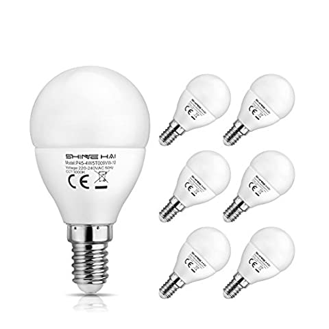 SHINE HAI P45 E14 LED Golf Ball Light Bulbs, 4.5W SES Bulb, Equivalent to 40W Small Edison Screw Bulbs, 3000K Soft White Frosted, 350Lm, Non-Dimmable, Energy Saver, LED Light Bulb, 6-Pack