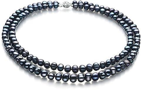 PearlsOnly - Noir 6-7mm perles d'eau douce -Collier de perles-46