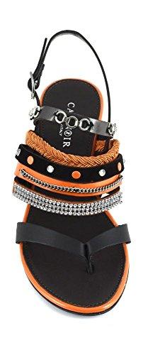 CAF NOIR GD923 sandales string turquoise plusieurs bliu femmes bracelet en strass Blu