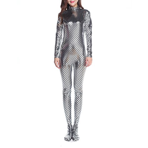 en Ärmeln Unitard Body Dancewear Meerjungfrau Kostüm, Silber, PUKH-DK31137_SILVER-XL (Kreative Halloween-kostüme Ideen Für Frauen)