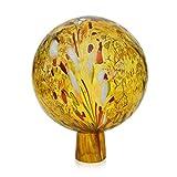 Gartenkugel Rosenkugel mit Granulat gold d 15cm mundgeblasen handgeformt Lauschaer Glas das Original