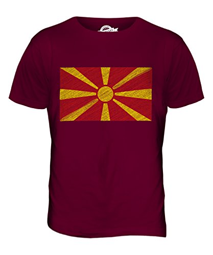 CandyMix Mazedonien Kritzelte Flagge Herren T Shirt Burgunderrot