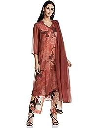 AL - Indian Luxury Women's Silk Straight Salwar Suit Set
