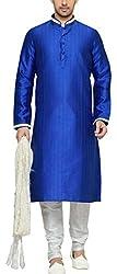 Indian Poshakh Mens Silk Sherwani (1150_42, 42, Blue and White)