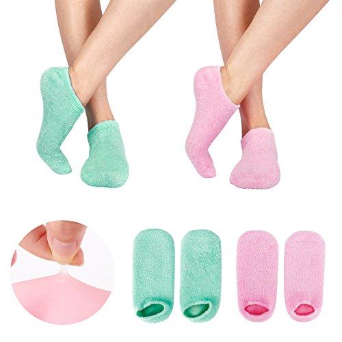 Rissige Nagelhaut (2 Paar Feuchtigkeitsspendende Gel-Socken mit Spa-Qualität Gel für feuchtigkeitsspendende Vitamin E und Öl infundiert helfende Reparatur trockene gebrochene Haut und Füllungen Füße … (GREEN+PINK))