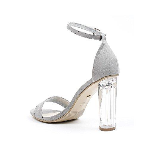 Ideal Shoes - Sandales effet daim et talon transparent Valeriana Gris