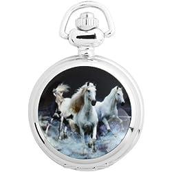UNIQUEBELLA Pocket watch-Quartz-Men/ Women/ Children-Vintage-Alloy Chain/Necklace-B5-S3022 Silver-Horse
