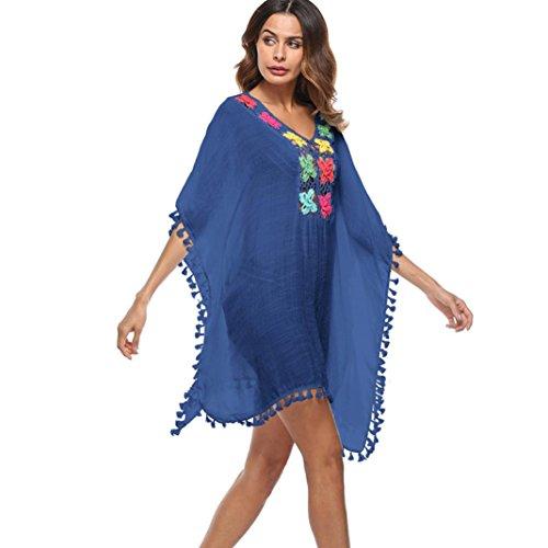 OVERDOSE Frauen Quaste lose große Größe Badeanzug Bikini Kleid Strand vertuschen Sonnenschutz Aufdecken Beach Cover Up (Blue,Free Size) -