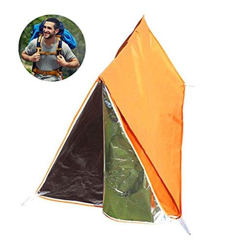 Clispeed Tenda esterna di emergenza tenda tenda di sopravvivenza tenda termica Sacco a pelo di emergenza riparo per campeggio escursionismo di sopravvivenza (arancione)
