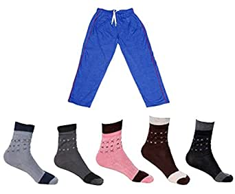 IndiWeaves Boys Bottom Wear Combo(Pack of 5 Boys Cotton Socks and 1 Cotton Lower/Track Pant)-MultiColor-2-3 Years