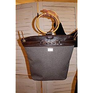Handtasche Lederhandtasche Shopper Damentasche mit Bambusgriffen