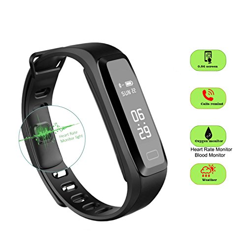 Price comparison product image Dax-Hub Sphygmomanometer Smart Bracelet OLED Display Bluetooth 4.0 For IOS & Android Smart Phone,  Built-in Heart Rate Monitor Sphygmomanometer,  Fitness Watch Calorie consumption and sleep monitoring with Sport Step Counter,  Blood Pressure (mmHG),  Pedometer Fitness Tracker Wristband Support Gsm / Gprs 850 / 900 - Navy (Blood Pressure) (R15-SpO2,  Black)