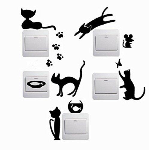 5 PCS Pegatina de pared Sannysis Interruptor Pegatina extraíble, gato, 23 x 13 cm