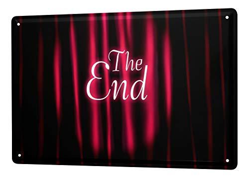 Cartel de chapa Placa metal tin sign Jorgensen Fotografía foto imágenes El Fin películas de cine cortina roja 20x30 cm