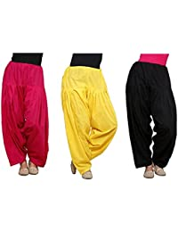 K's Creations Combo Of 3 Womens Solid Cotton Mix Best Indian Ethnic Comfortable Readymade Punjabi Semi Patiala... - B077Z4RDWV