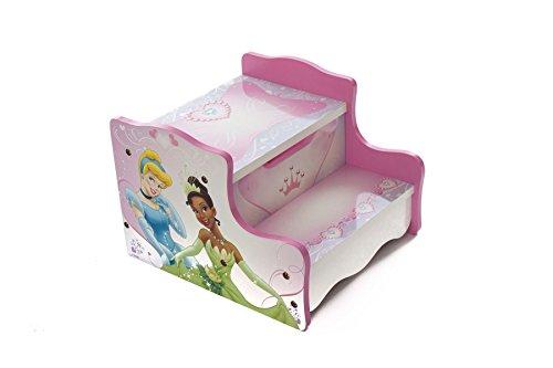 Disney Prinzessinnen-Holz-Tritthocker, für Spielzimmer/Schlafzimmer, mit Aufbewahrungsfach, rosa