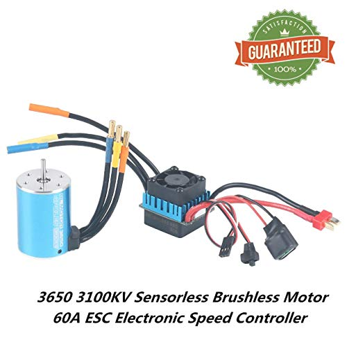 Crazepony-UK 3650 3100KV Sensorless Brushless Combo Motor Set and 60A ESC Electronic Speed Controller 3.175mm Shaft Splashproof for 1/10 1:10 RC Racing Car Off-Road Truck Vehicle