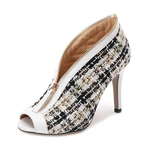 LHWAN Gemischte Baumwoll-Pflaster Oberste Damen High Heels Schuhe Peep Toe Front Reißverschluss Damen Pumpe rutschen auf Stilettos Party,White,35EU Front-peep-toe