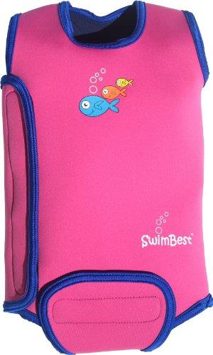 Swimbest - SwimBest abrigo neopreno traje / todo en uno, mantiene al bebé caliente en el agua. Ya está disponible para niños de 0-6, 6-12 y 12-24 meses, Rosa / Azul Marino, 6-12 Monate