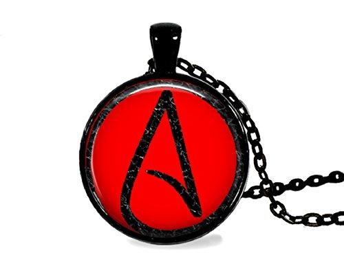 Atheist Logo, schwarz und rot Anhänger