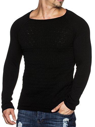 TAZZIO Styler doppel Muster Strick-Pullover mit weitem Rundhals-Ausschnitt  16404 Schwarz