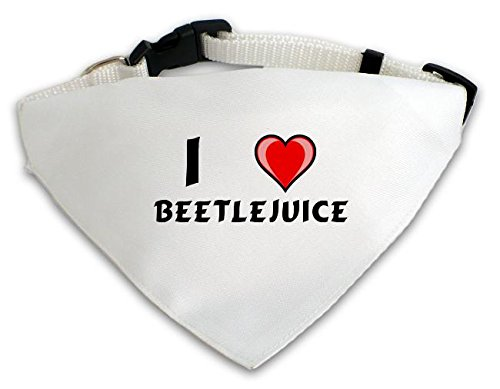 Dog Bandana with I love Beetlejuice (first name/surname/nickname)
