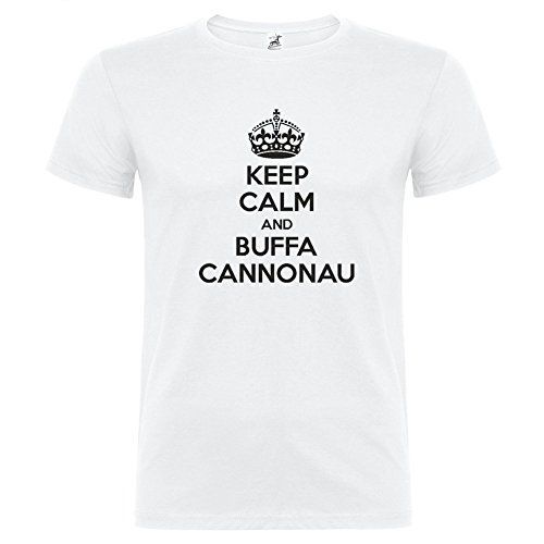 Bikerella t-shirt manica corta unisex keep calm and buffa cannonau by bianco/nero m