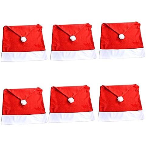 DegGod 6 pc Babbo Natale cappello rosso coprisedie Copri Sedie pupazzo Decorazione natalizia Natale Cena Tavolo da Pranzo Decor