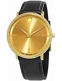 Movado Men's Ultra Slim 40mm Black Leather Band Swiss Quartz Watch 0607156