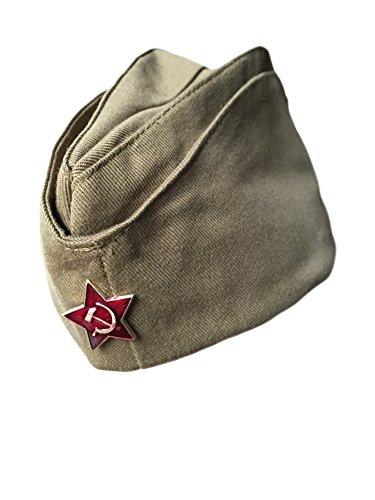 Preisvergleich Produktbild Ganwear Original Russische UdSSR-Armee-Kappe, Militär/Uniform/Pilotka/Hut, Logo roter Stern
