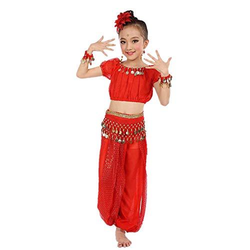 der Handgemachte Kinder Mädchen Bauchtanz Bauchtanz Ägypten Tanz Tuch(S,Rosa) ()