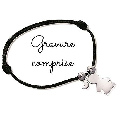 MELI MELOW bracelet sur cordon avec pendentif petite fille en argent - gravure bijou personnalisé gravé