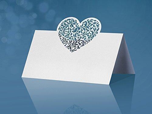 Platzkarten Tischkarten Hochzeit Taufe, Tischdekoration 10 Stück mit edlem Herz in Lasertechnik - Laser Cut