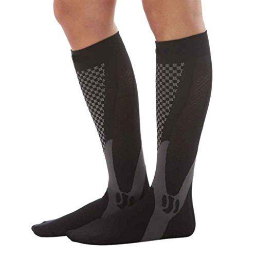 Floridivy 1 Paar Unisex Knee High Compression Fußball Lange Strümpfe Beinstütze Stretch-Socken Outdoor-Basketball-Socken schwarz L/XL -
