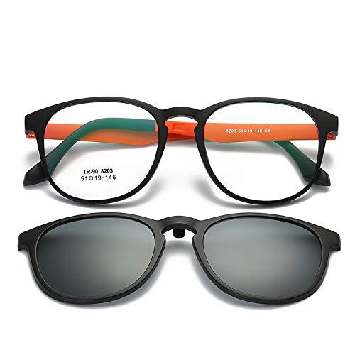 LKVNHP Hohe Qualität Unisex Clip Auf Polarisierte Linse Sonnenbrille Für Männer Frauen Fahren Myopie Brille Tr90 Rahmen Mit Anti Glare Uv400 MagnetischeOrange Tempel