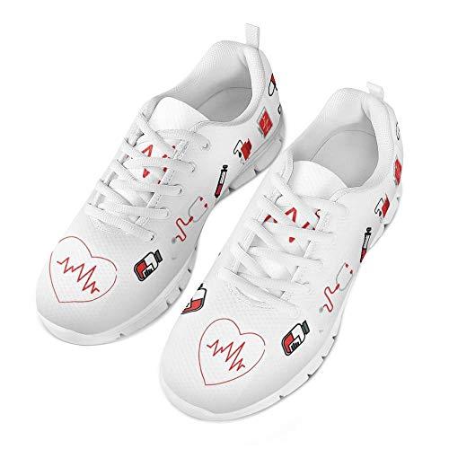 Coloranimal Gym Sport Damen Herren Air Mesh Laufschuhe Nette Krankenschwester Medizinische Muster Lässig DailyShoes Athletic Fashion Sneakers EU Größe 38 - Athletic Medizinische Schuhe