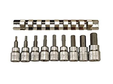 Teng M3812 10 Piece Clip Rail Hex Key Socket Set Metric- 3/8in Square Drive