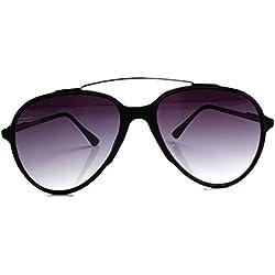 Accessoryo - Schwarze Flieger-Sonnenbrille mit Stirn und schwarzen Linsen