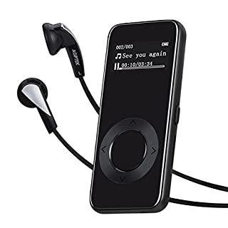 AGPTEK 8GB MP3 Player mit Sport Armband Zinklegierung Verlustfrei Musik Player unterstützt FM Radio, Aufnahme, 64GB Micro SD, M29, Nacht Schwarz
