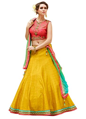 Fabricvilla New Graceful Silk Red Designer Lehenga Choli