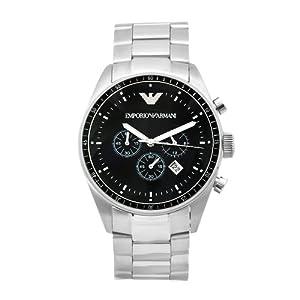 Emporio Armani Sport Collection AR0585 - Reloj cronógrafo de cuarzo para hombre, correa de acero inoxidable color plateado (cronómetro) de Emporio Armani