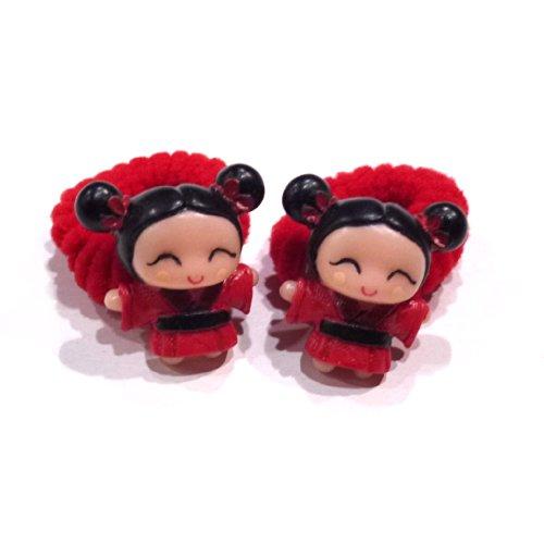 rougecaramel - Accessoires cheveux - Elastique/mousse enfant poupe 2pcs - rouge