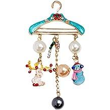 TENDYCOCO Broche Percha de Navidad Perla Perla de Corte Redondo muñeco de Nieve Caramelo Broche Pin para Las Mujeres niñas