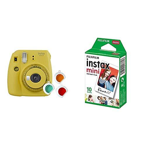 Oferta de Fujifilm Instax Mini 9 - Cámara instantanea, Amarillo + Pack de 10 películas