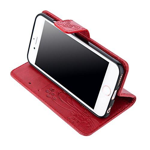 Coque pour Apple iPhone 6S/ 6 4.7 Zoll ,Housse en cuir pour Apple iPhone 6S/ 6 4.7 Zoll ,Ecoway Colorful imprimé étui en cuir PU Cuir Flip Magnétique Portefeuille Etui Housse de Protection Coque Étui  Scarlet papillon Imprimer