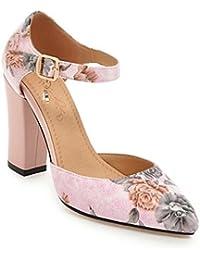 DIMAOL Zapatos de Mujer PU Primavera Verano Comodidad Novedad Tacones Chunky Talón Señaló Applique Toe Hebilla...